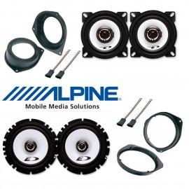 Kit 4 casse per FIAT GRANDE PUNTO Alpine con adattatori e supporti connettori
