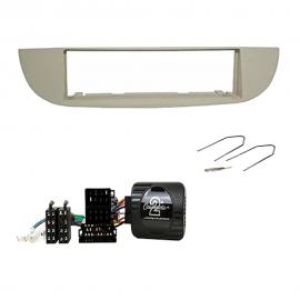 Kit mascherina 1 DIN fiat 500 beige + chiavi + comandi al volante