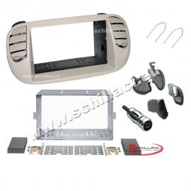 Kit mascherina autoradio 2 DIN FIAT 500 bianco Pearl supporto montaggio plancia