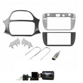 Kit autoradio 2 DIN FIAT PUNTO EVO nero lucido + comandi al volante