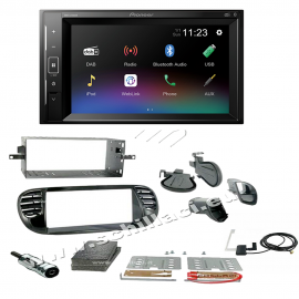 Autoradio Pioneer 2DIN DMH-A240DAB + Kit autoradio 2 DIN Fiat 500 nero lucido